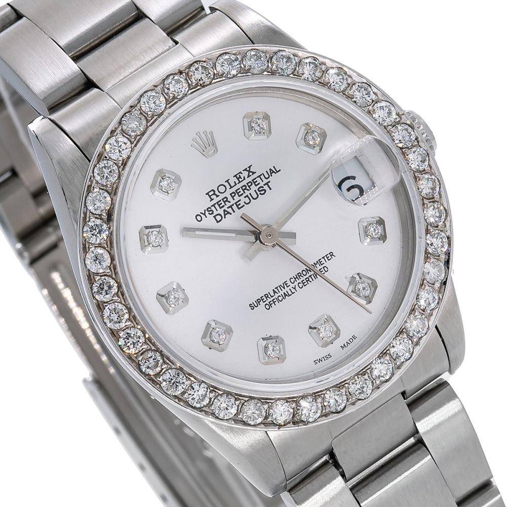 ROLEX DATEJUST 68240 31MM SILVER GRAY DIAL WITH 1.3CT DIAMONDS