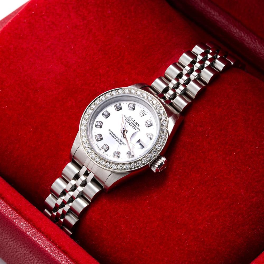 ROLEX DATEJUST 69160 26MM SILVER DIAL WITH 0.90CT DIAMOND BEZEL