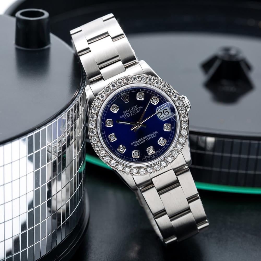 ROLEX DATEJUST 68240 31MM BLUE DIAL WITH 1.05CT DIAMOND BEZEL