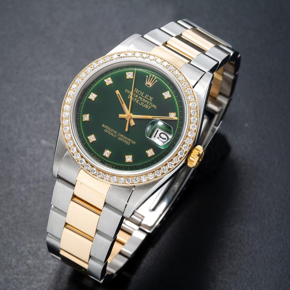 TWO TONE ROLEX 1601 DATEJUST 36MM GREEN DIAL WITH 1.20CT DIAMOND BEZEL