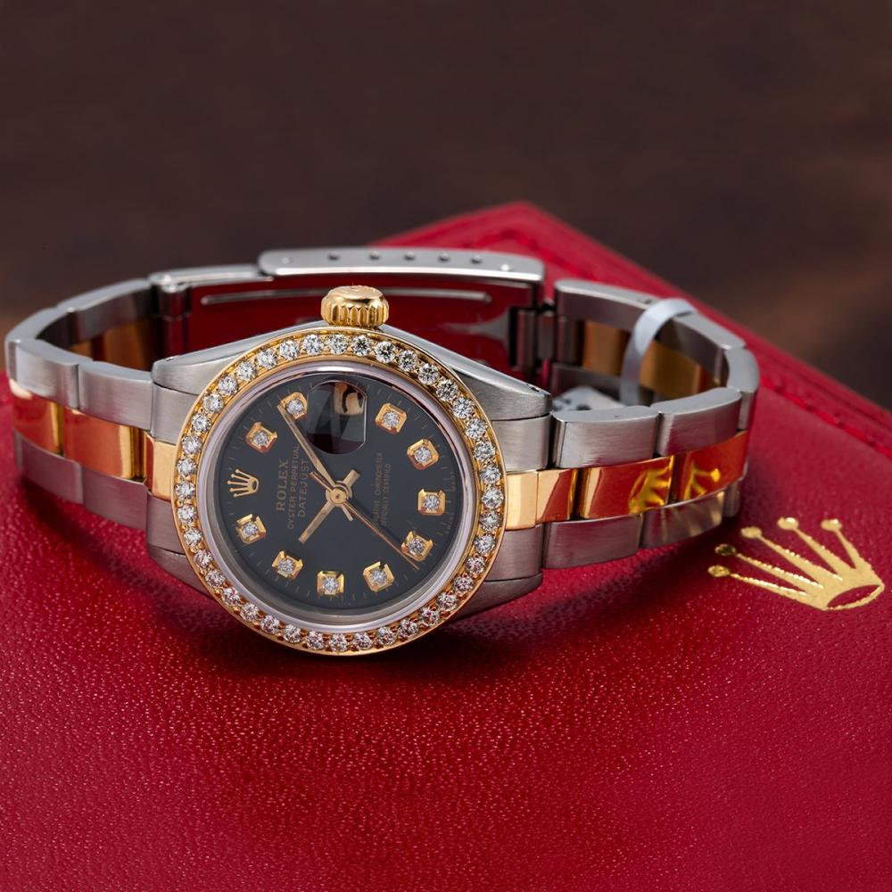 TWO TONE ROLEX DATEJUST 6917 26MM BLACK DIAL WITH 0.90CT DIAMOND BEZEL