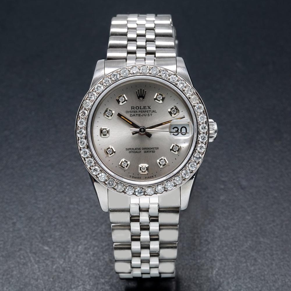 ROLEX DATEJUST 68274 31MM SILVER DIAL WITH 1.05CT DIAMOND BEZEL
