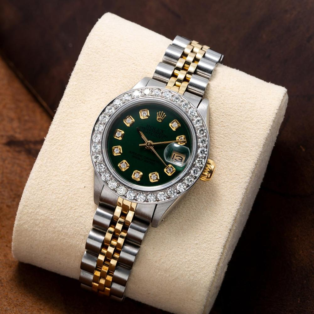 TWO TONE ROLEX DATEJUST 179173 26MM GREEN DIAL WITH 1.8CT DIAMOND BEZEL