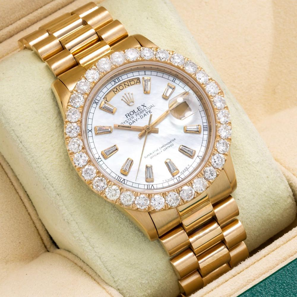 18K YELLOW GOLD ROLEX DAY-DATE 18038 36MM WHITE MOTHER OF PEARL DIAL WITH 4.75CT DIAMOND BEZEL