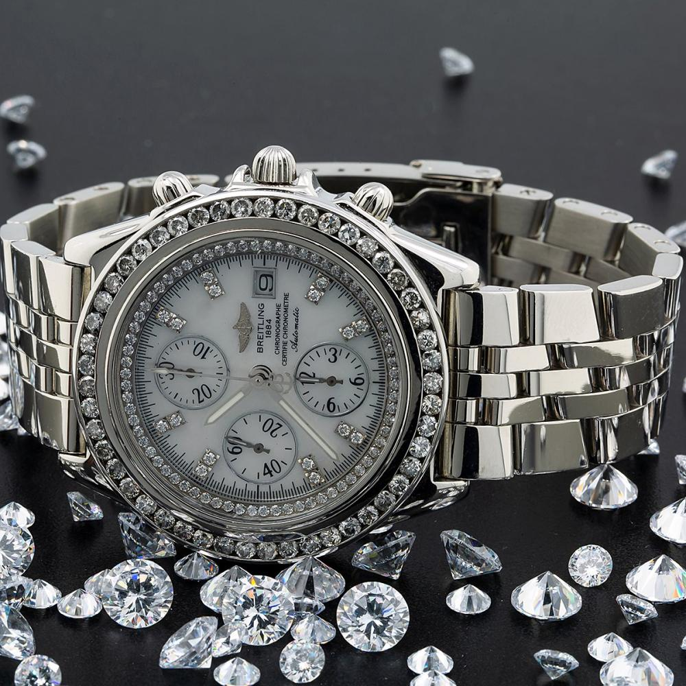 BREITLING CROSSWIND RACING A13055 WHITE DIAMOND DIAL WITH 3.00 CT DIAMONDS