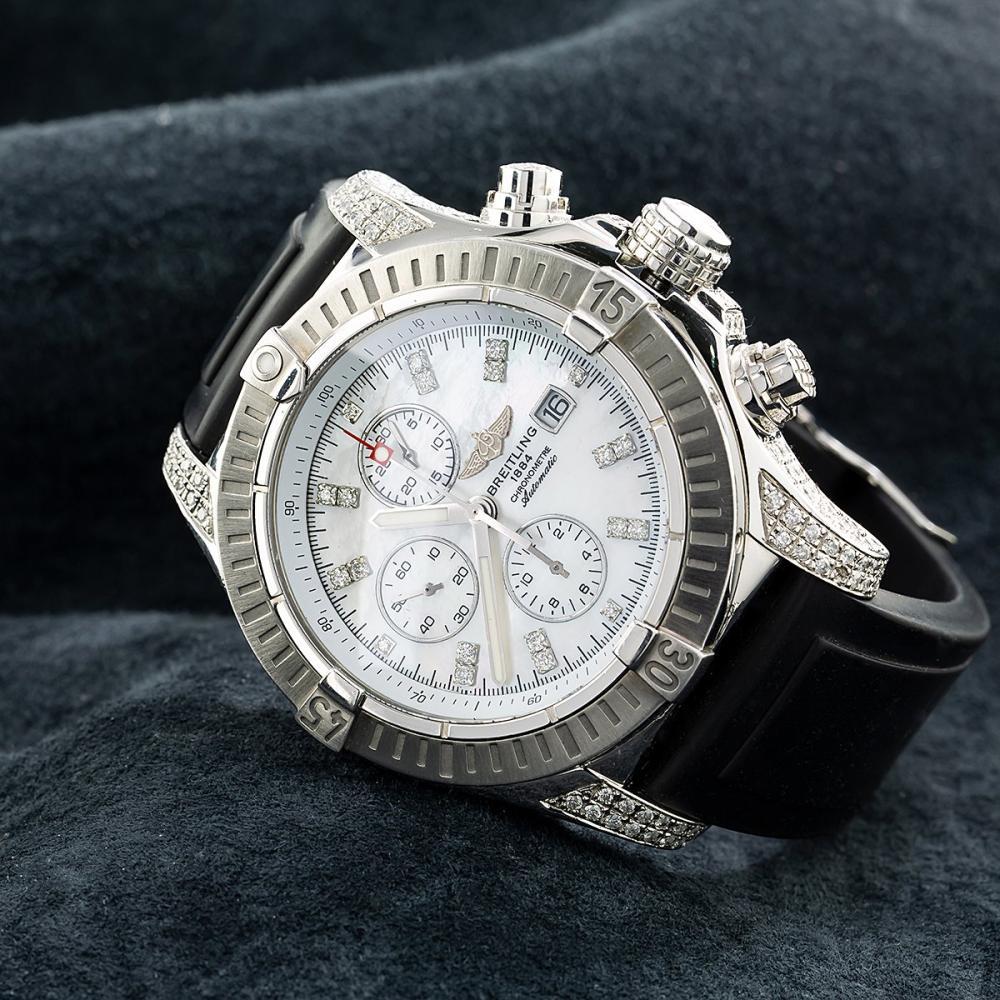 BREITLING CHRONOMAT EVOLUTION A11370 42MM WHITE DIAMOND DIAL WITH 4.00 CT DIAMONDS