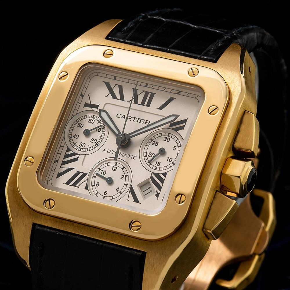 CARTIER SANTOS 100 W20096Y1 38MM WHITE DIAL WITH LEATHER BRACELET