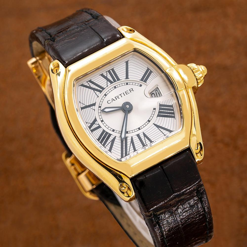 CARTIER ROADSTER W62018Y5 31MM SILVER WITH ROMAN NUMERALS DIAL
