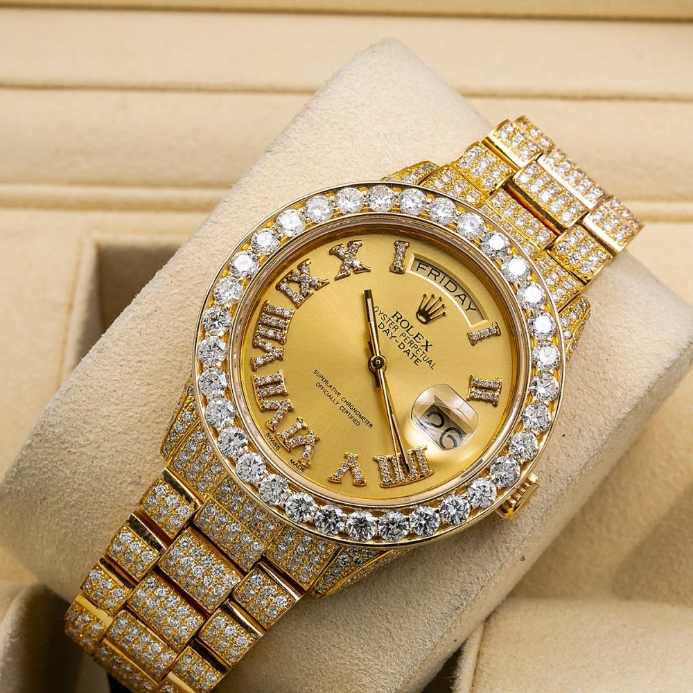 ROLEX DAY-DATE 18038 36MM CHAMPAGNE DIAL WITH 18.83 CT DIAMONDS
