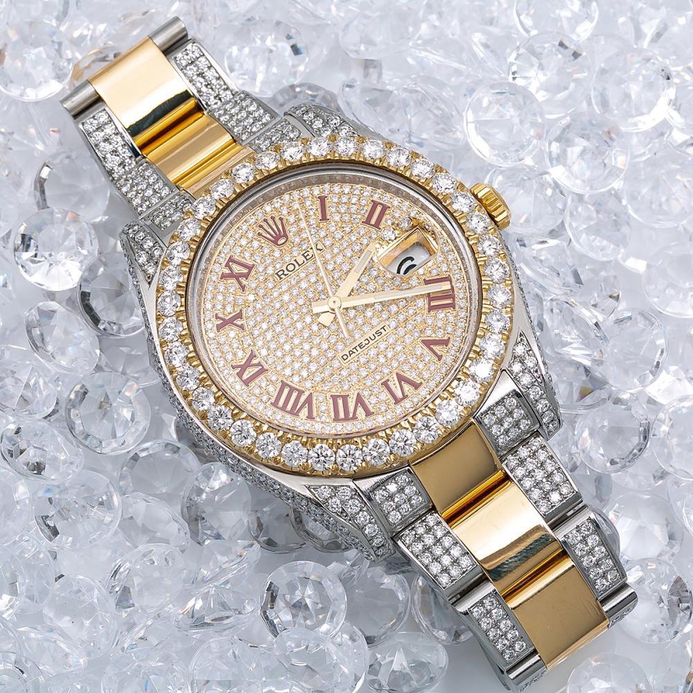 ROLEX DATEJUST II 116333 41MM CHAMPAGNE DIAMOND DIAL WITH 11.75 CT DIAMONDS