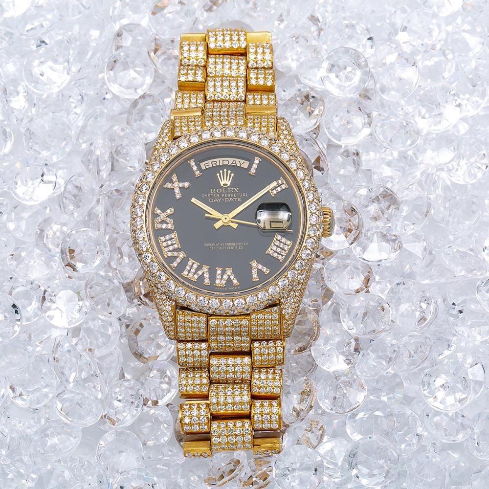 ROLEX DAY-DATE 18038 36MM BLACK DIAL WITH 23.25 CT DIAMONDS