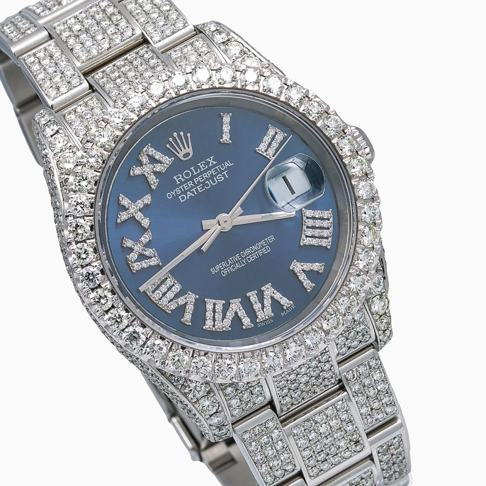 ROLEX DATEJUST 116234 36MM BLUE DIAL WITH 14.75 CT DIAMONDS