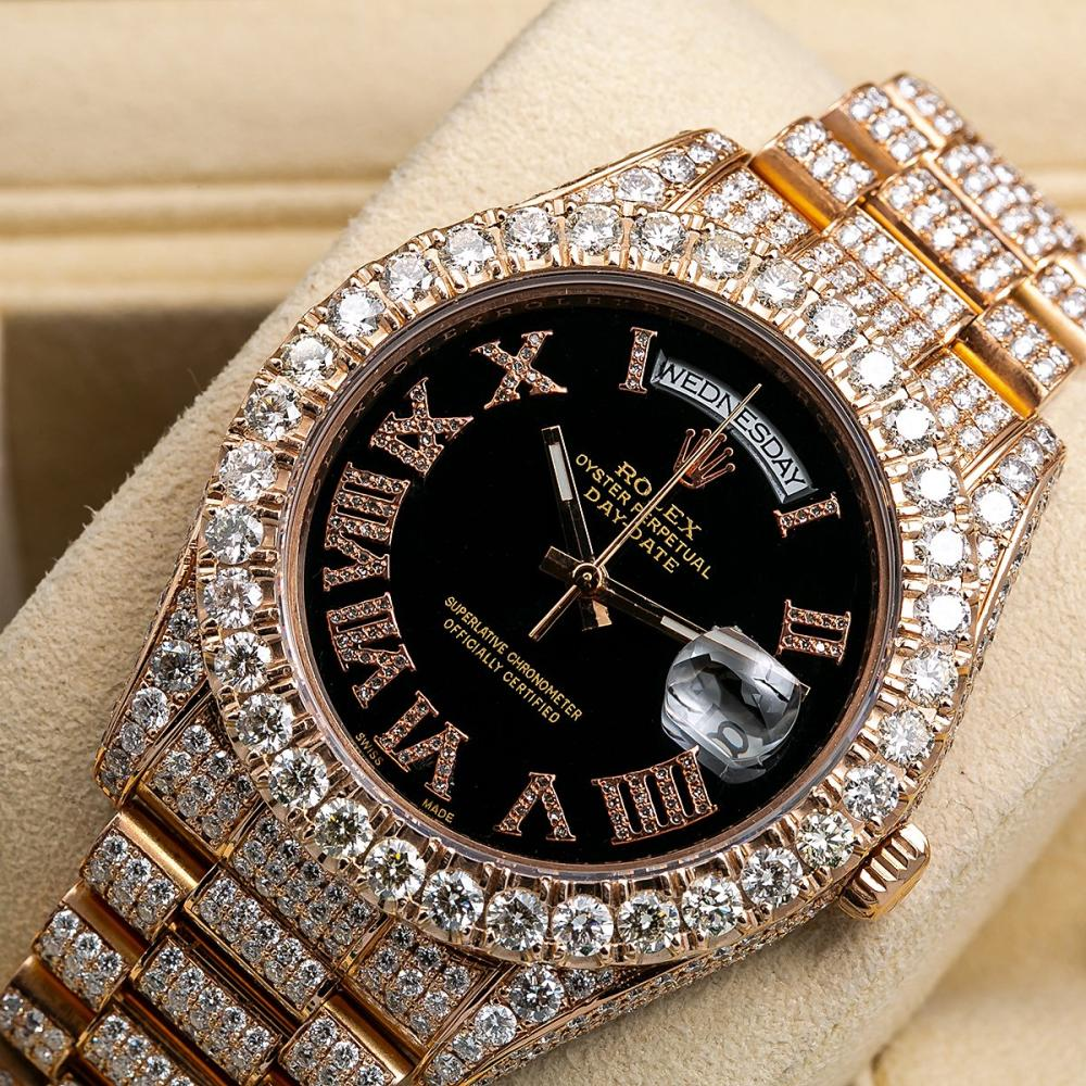 ROLEX DAY DATE II 218238 41MM BLACK DIAL WITH 25.75 CT DIAMONDS
