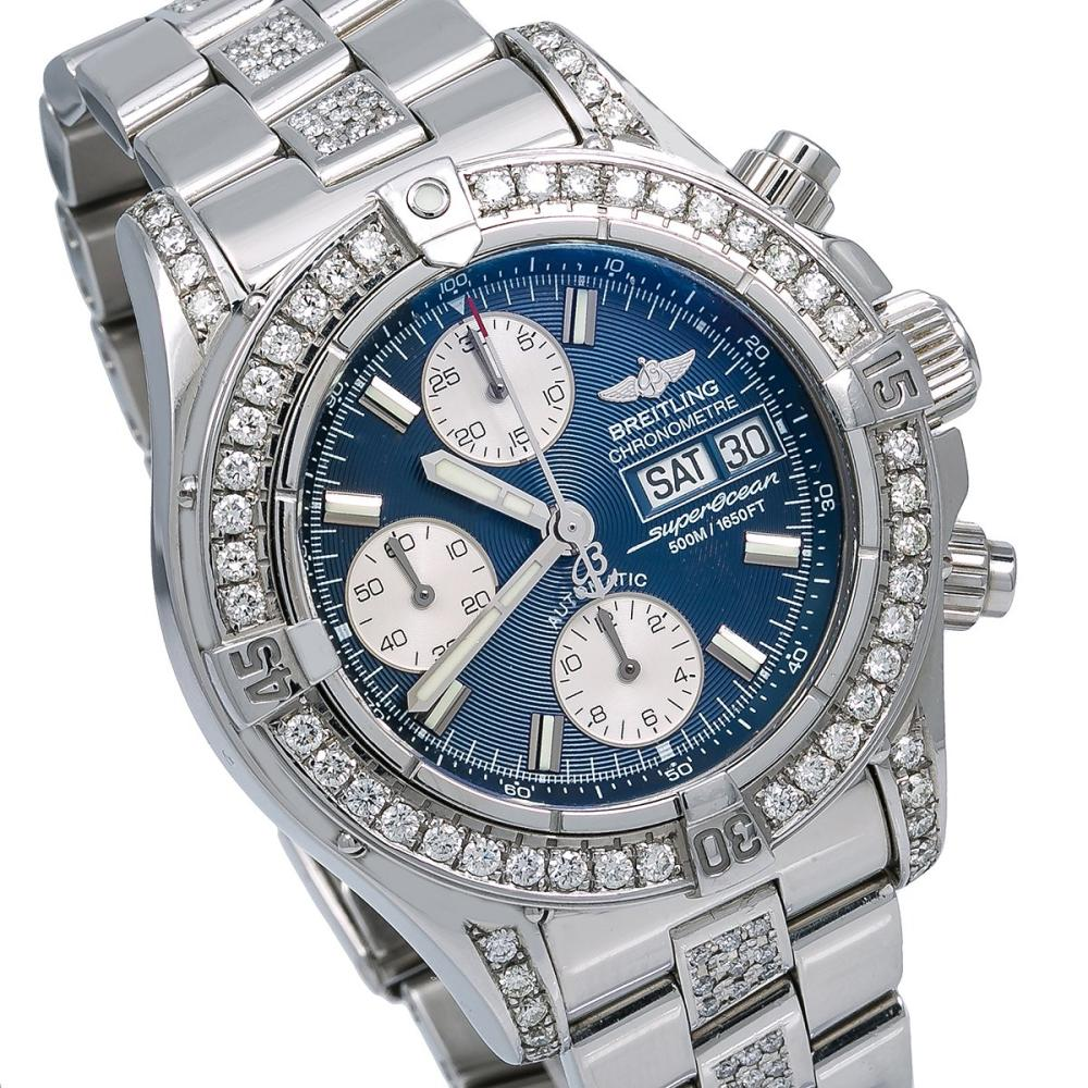BREITLING SUPEROCEAN CHRONOGRAPH II A13340 42MM BLUE DIAL WITH 4.00 CT DIAMONDS
