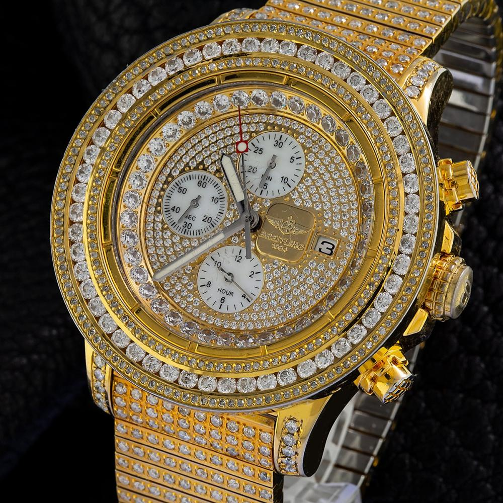 BREITLING SUPER AVENGER A13370 48MM PLATED IN YELLOW GOLD CHAMPAGNE DIAMOND DIAL WITH 9.75 CT DIAMONDS