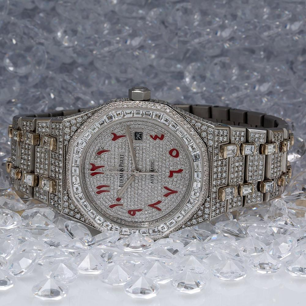 AUDEMARS PIGUET ROYAL OAK SELFWINDING 15400ST 41MM WHITE DIAMOND DIAL WITH 29.75 CT DIAMONDS