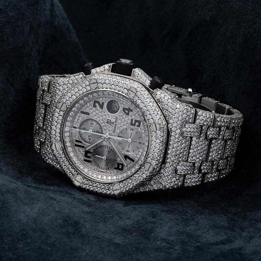 AUDEMARS PIGUET ROYAL OAK OFFSHORE CHRONOGRAPH 25721ST 42MM SILVER DIAMOND DIAL WITH 26.25 CT DIAMONDS