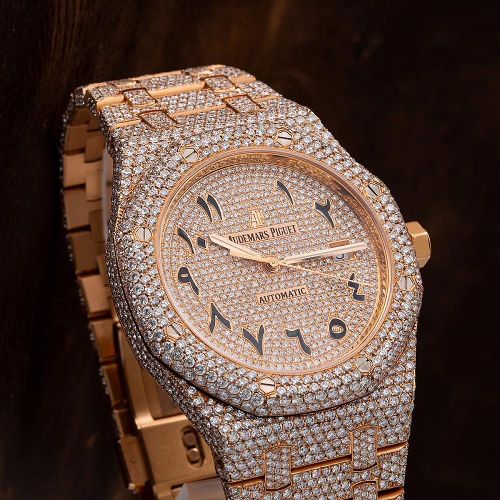 AUDEMARS PIGUET ROYAL OAK SELFWINDING 15400OR 41MM CHAMPAGNE DIAMOND DIAL WITH 27.95 CT DIAMONDS