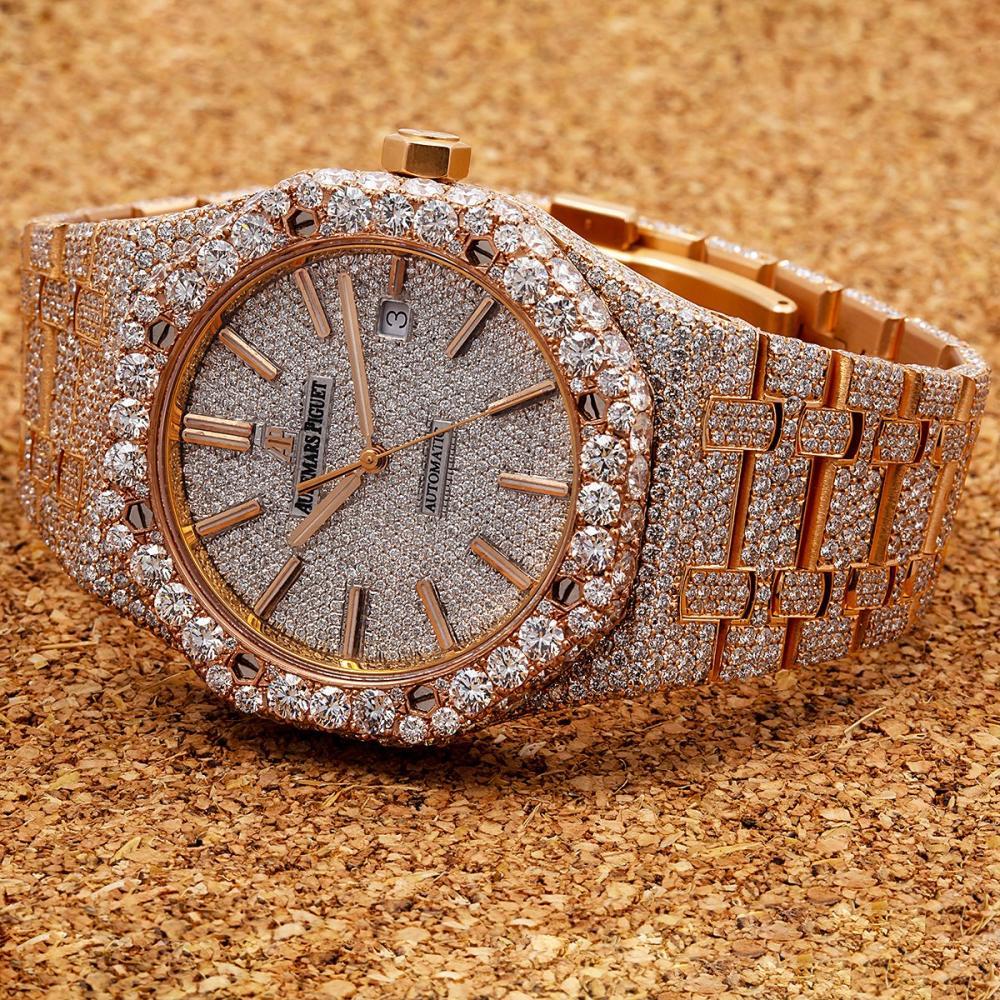 AUDEMARS PIGUET ROYAL OAK 15400OR 41MM WHITE DIAMOND DIAL WITH 27.75 CT DIAMONDS