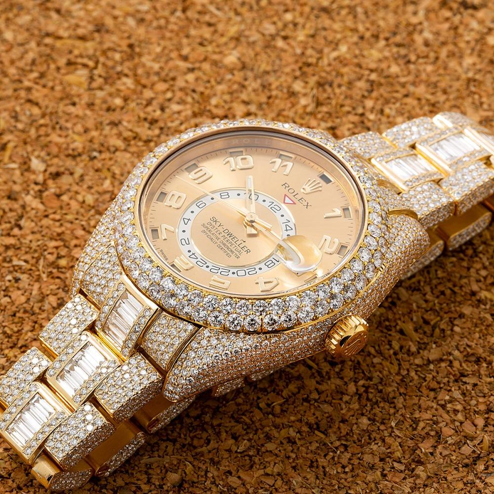 ROLEX SKY-DWELLER 326938 42MM CHAMPAGNE DIAL WITH 31.00 CT DIAMONDS
