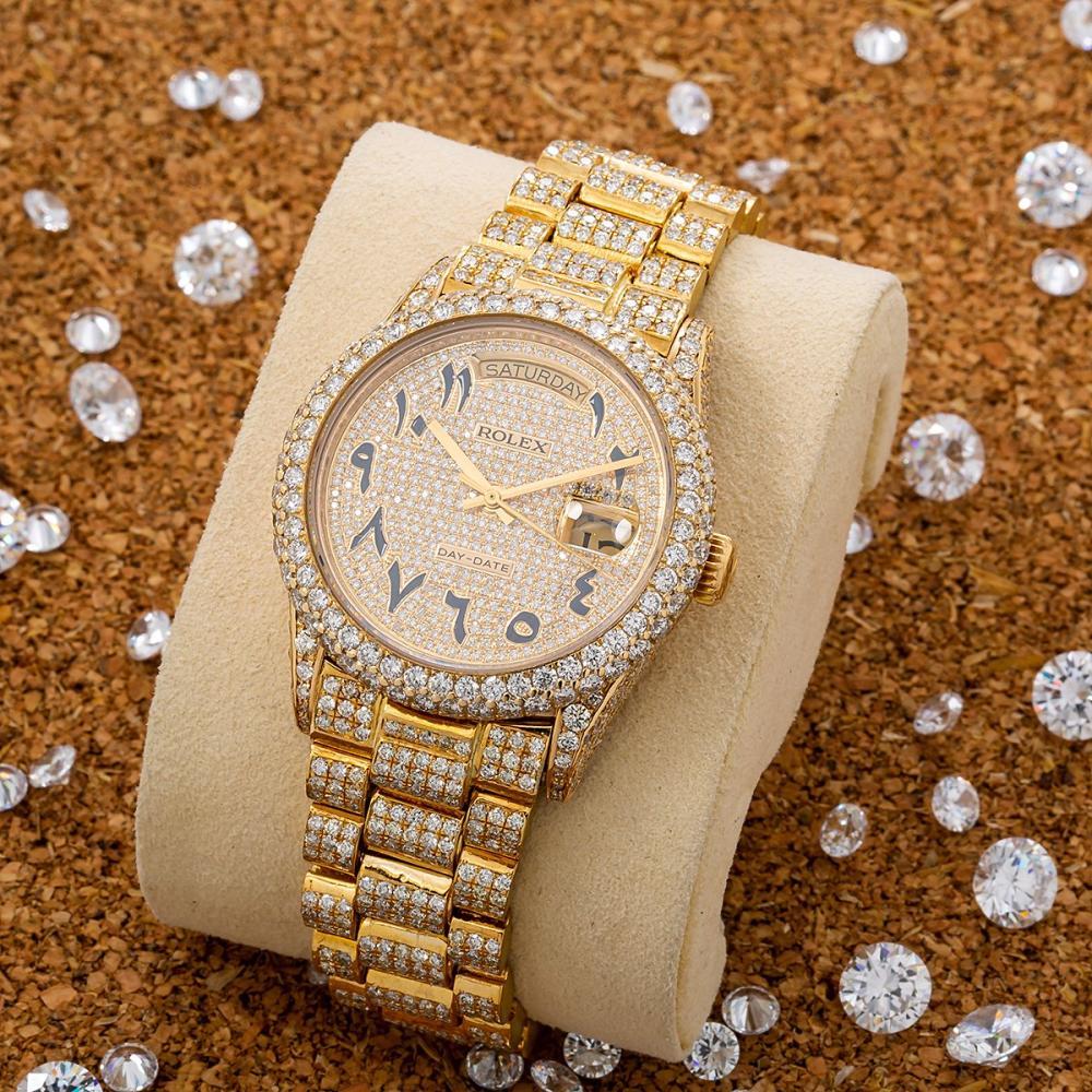ROLEX DAY-DATE 18038 36MM CHAMPAGNE CUSTOM ARABIC DIAMOND DIAL WITH 15.75 CT DIAMONDS