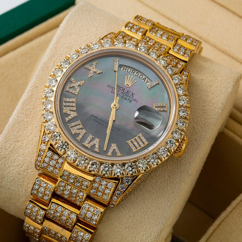 ROLEX DAY-DATE 18038 36MM BLACK DIAL WITH 14.75 CT DIAMONDS