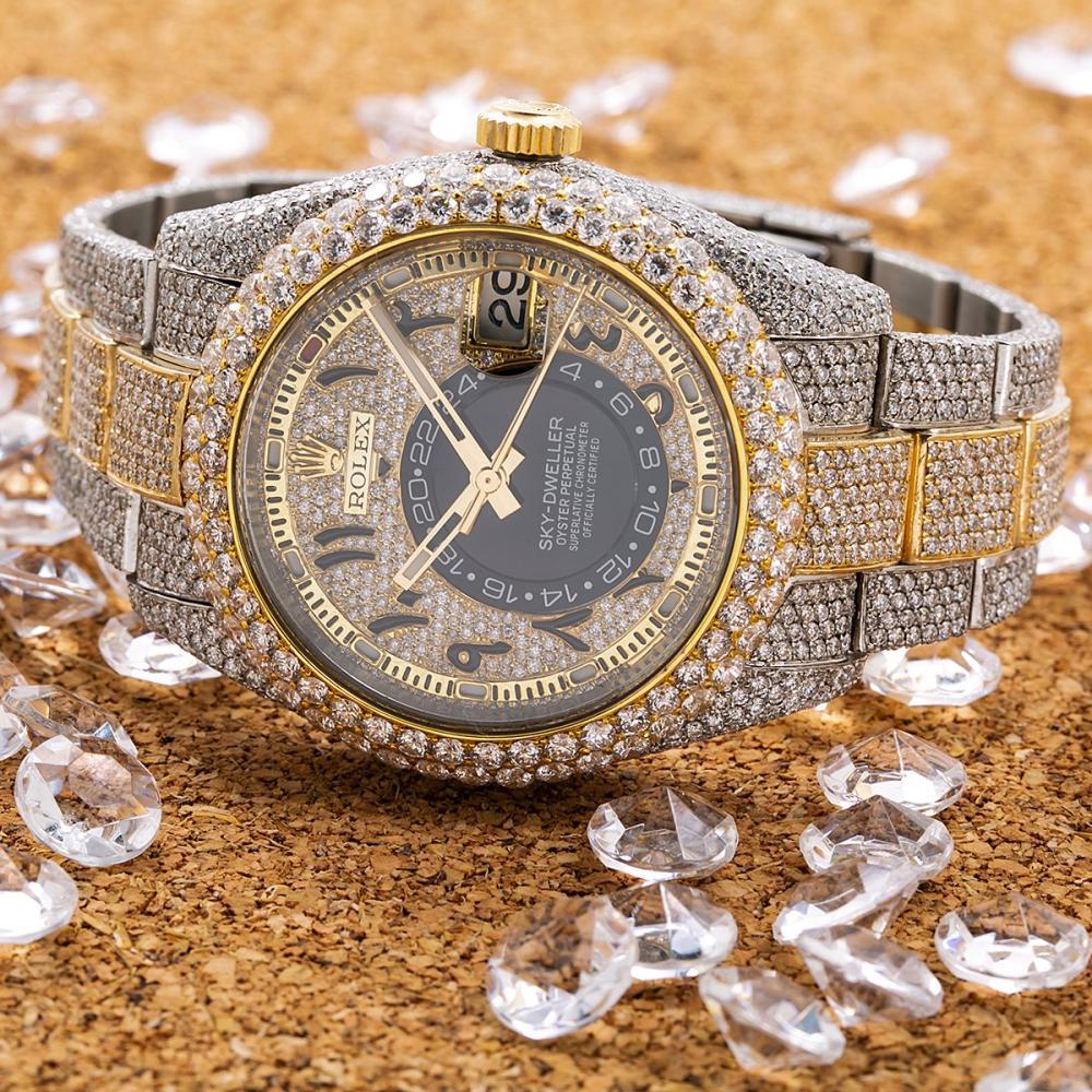 ROLEX SKY-DWELLER 326933 42MM ARABIC NUMERALS DIAMOND DIAL WITH 25.75 CT DIAMONDS