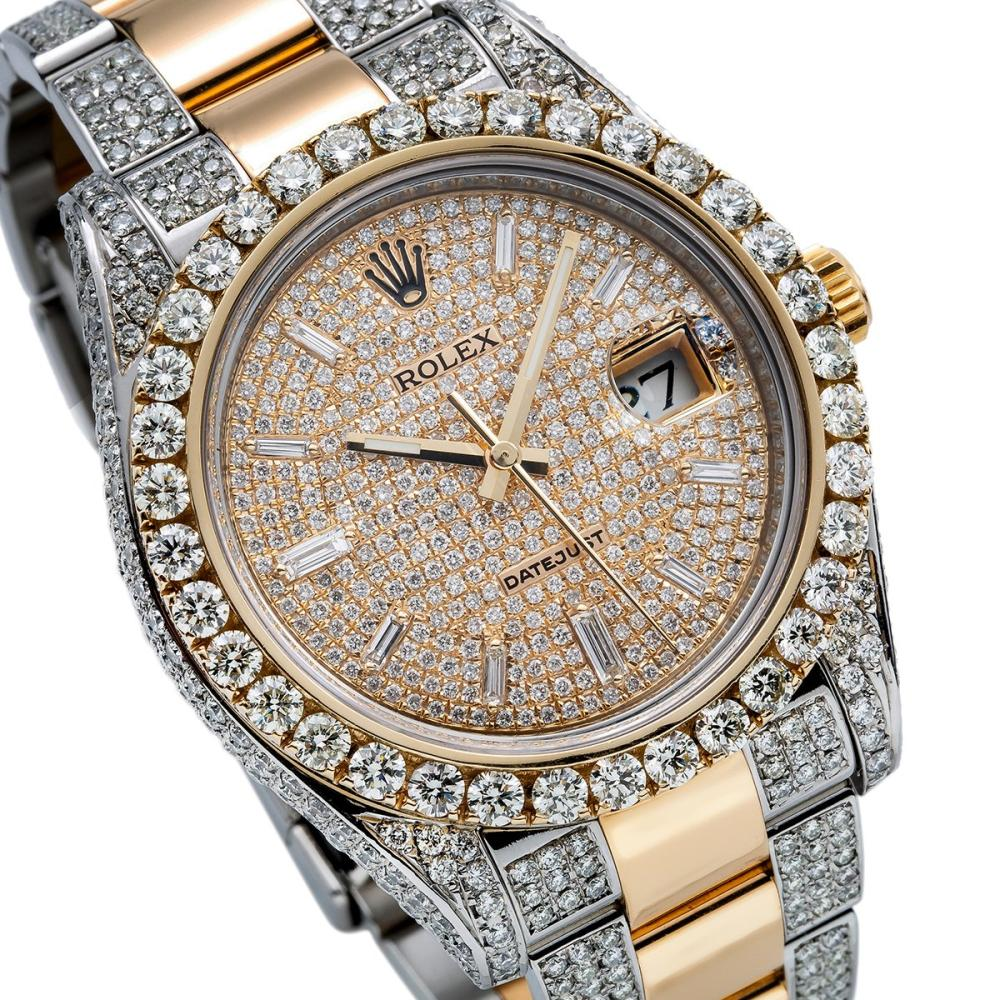 TWO TONE ROLEX DATEJUST II 116333 41MM CHAMPAGNE DIAL WITH 12.5CT DIAMONDS