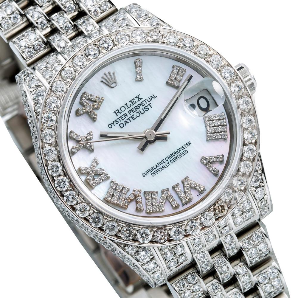 ROLEX DATEJUST 178240 31MM BLUE MOTHER OF PEARL DIAL WITH 9.25CT DIAMONDS