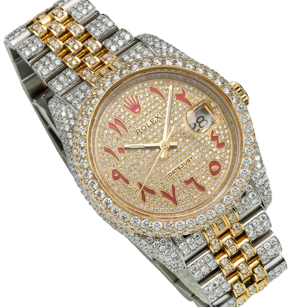 ROLEX DATEJUST 116233 36MM CHAMPAGNE ARABIC NUMERAL DIAL WITH 13.25CT DIAMONDS WATCH