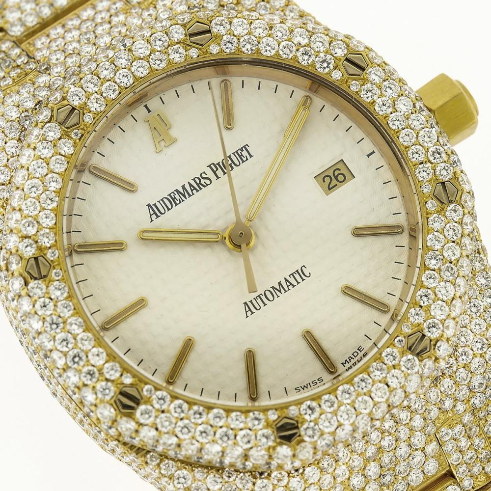 18K YELLOW GOLD AUDEMARS PIGUET ROYAL OAK 15000BA 37MM WHITE DIAL WITH 13.75CT DIAMONDS