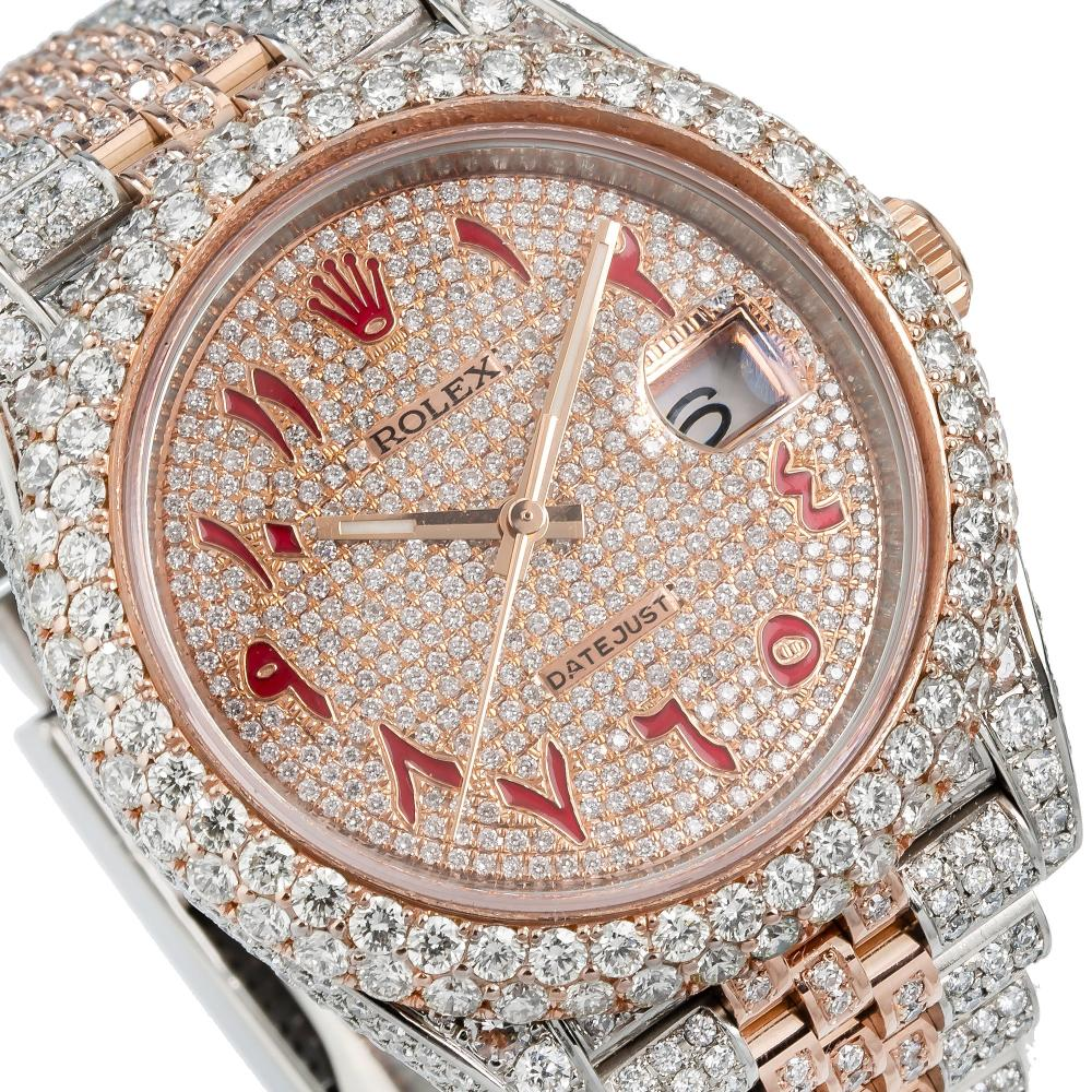 ROLEX DATEJUST II 126333 41MM RED ARABIC NUMERALS DIAL WITH 15.75CT DIAMONDS