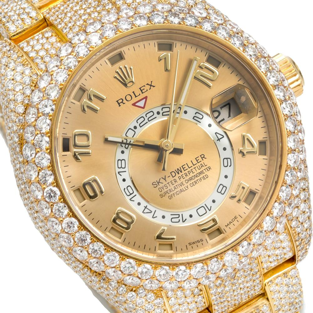 18K YELLOW GOLD ROLEX OYSTER PERPETUAL SKY-DWELLER 326938 42MM CHAMPAGNE DIAL WITH 23.75CT DIAMONDS