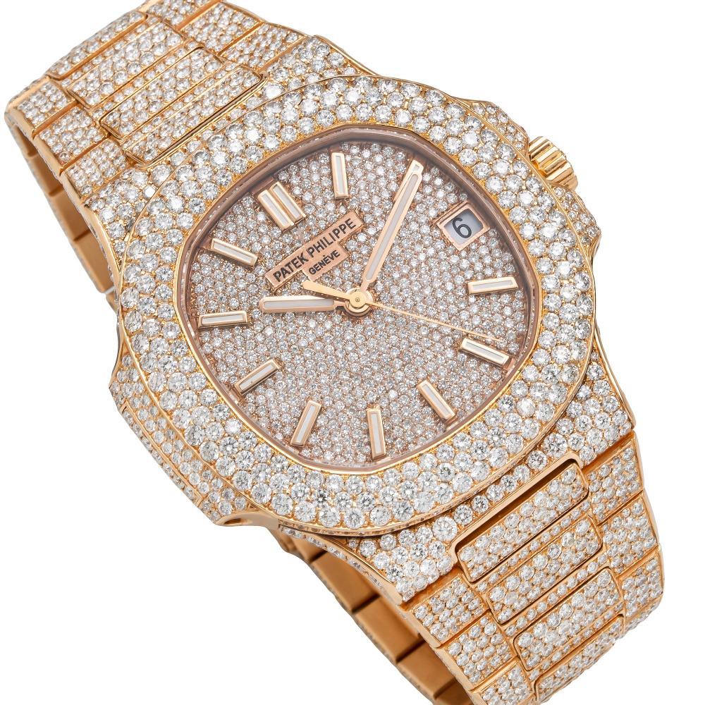 18K ROSE GOLD PATEK PHILIPPE NAUTILUS 5711/1R 40MM CHAMPAGNE DIAMOND WATCH