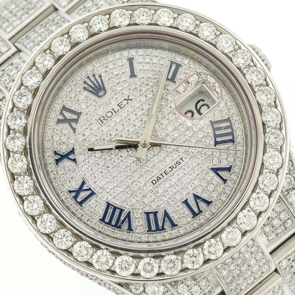 STAINLESS STEEL ROLEX DATEJUST II 116300 41MM 15CT DIAMOND WATCH