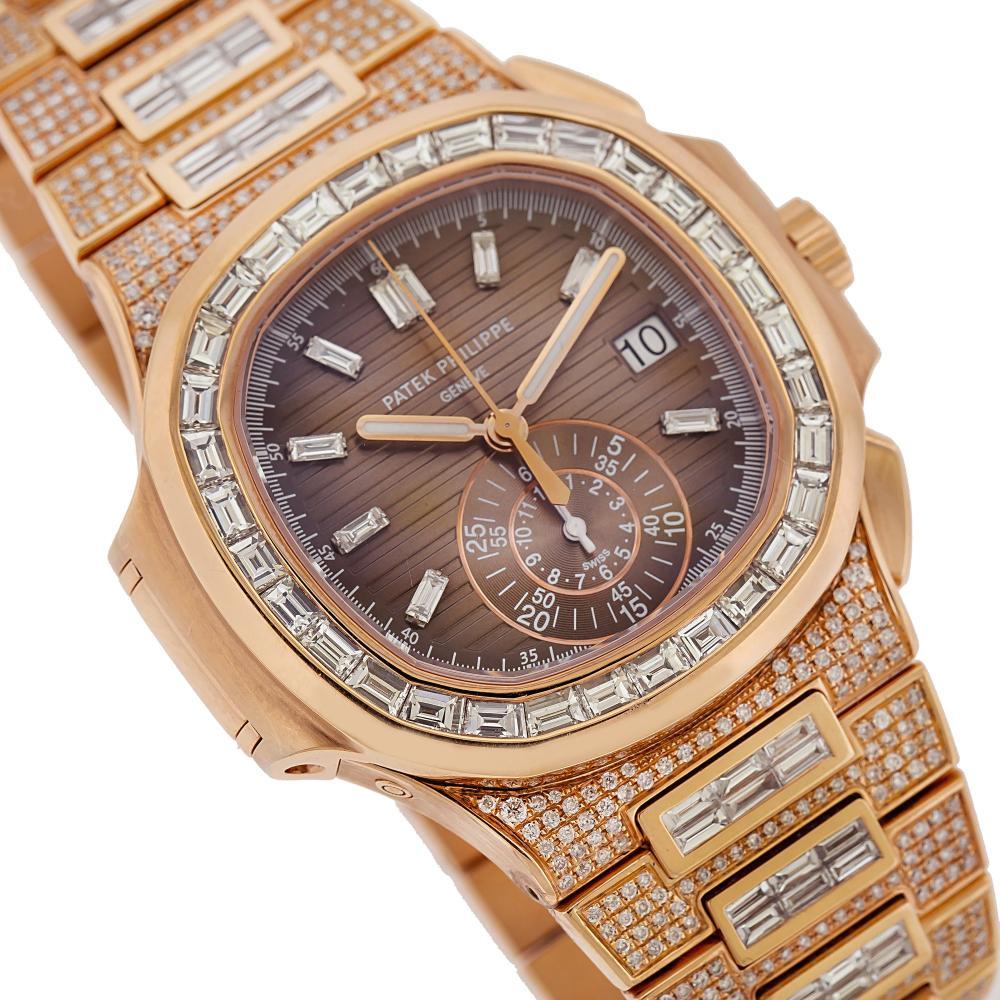 18K ROSE GOLD PATEK PHILIPPE NAUTILUS 5980/1R 40.5MM BROWN DIAL 25CT DIAMONDS