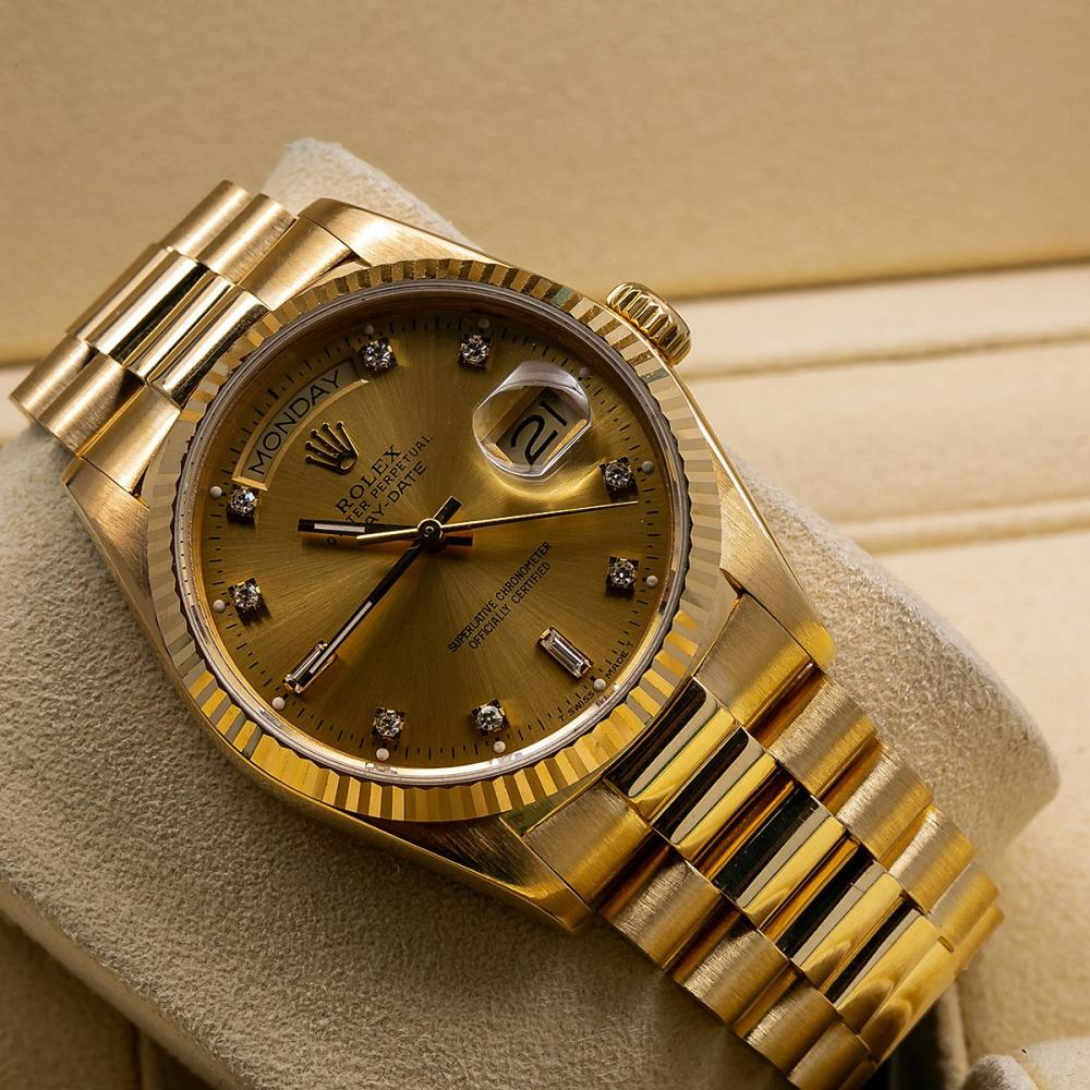 ROLEX DAY-DATE 18038 36MM CHAMPAGNE DIAL WITH YELLOW GOLD BRACELET
