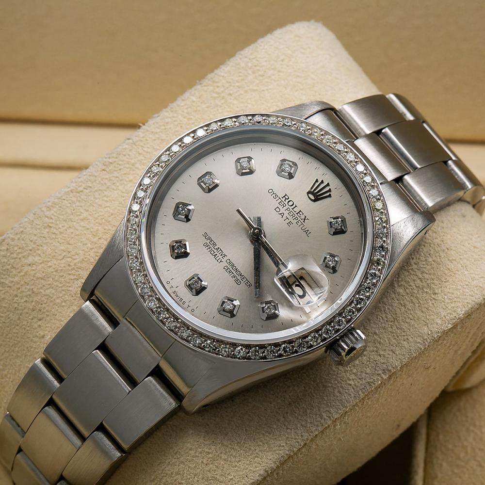ROLEX OYSTER PERPETUAL DATE 15010 34MM SILVER DIAMOND DIAL WITH 1.20 CT DIAMONDS