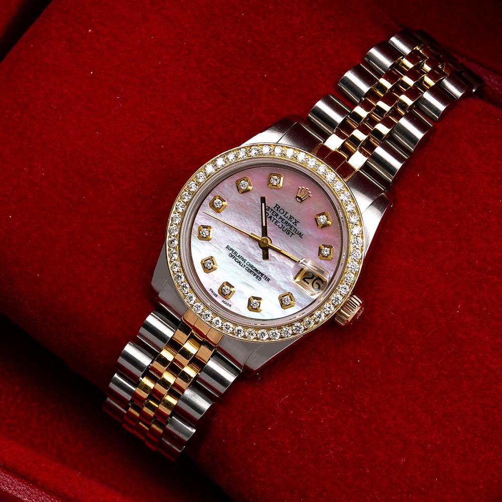 ROLEX DATEJUST 68273 31MM PINK DIAMOND DIAL WITH 1.05 CT DIAMONDS