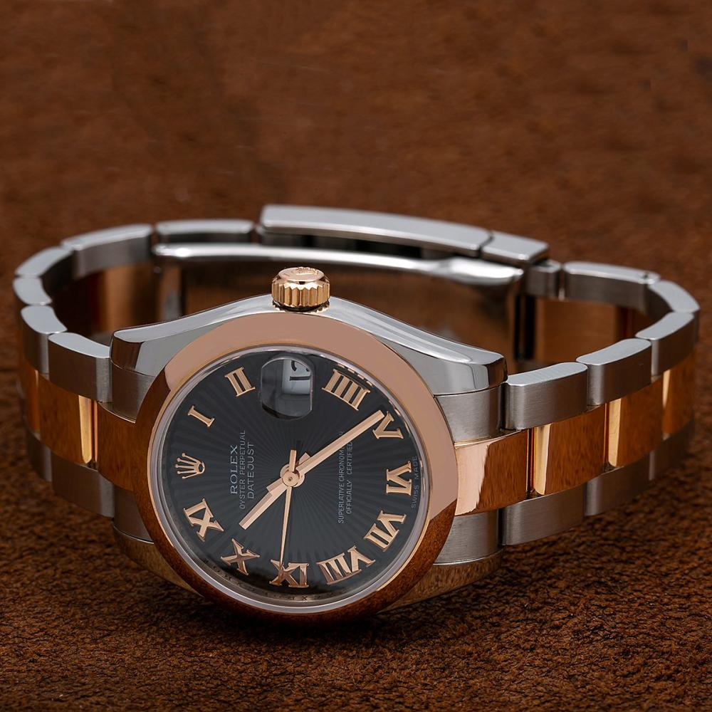 ROLEX LADY-DATEJUST 178241 31MM BLACK DIAL WITH TWO TONE BRACELET