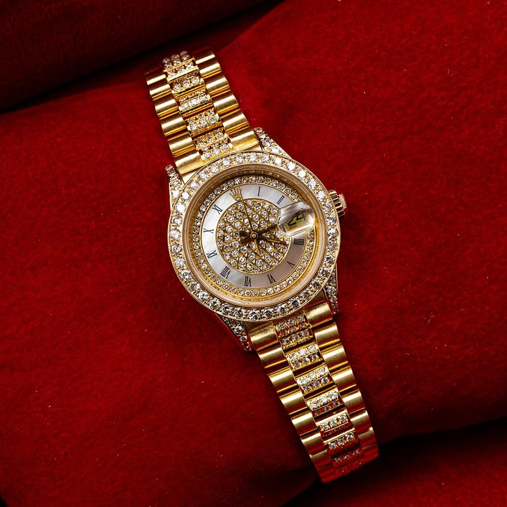 ROLEX LADY-DATEJUST 69178 26MM CHAMPAGNE DIAMOND DIAL WITH PRESIDENT YELLOW GOLD BRACELET