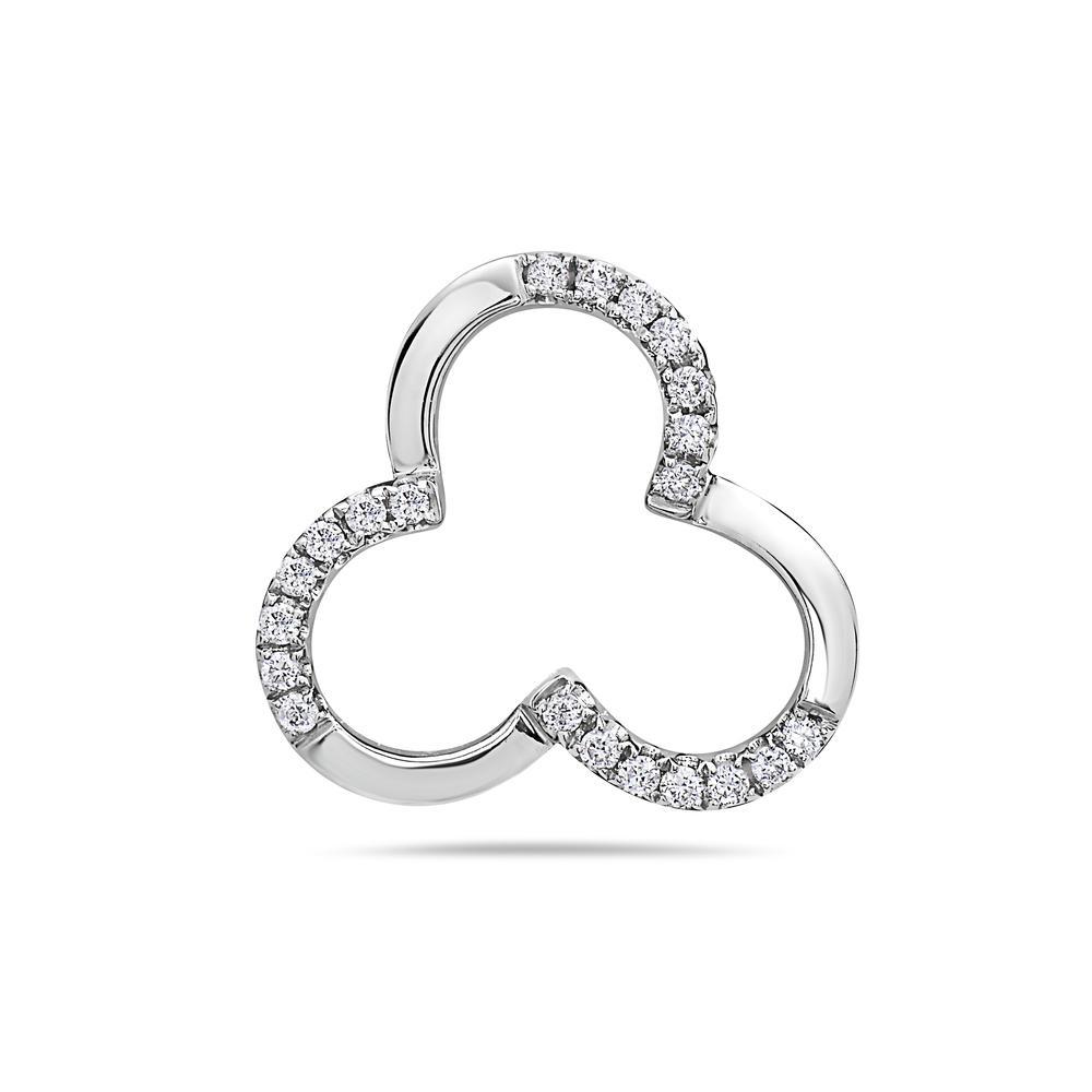 18K WHITE GOLD CLOVER WOMEN'S PENDANT WITH 0.15 CT DIAMONDS