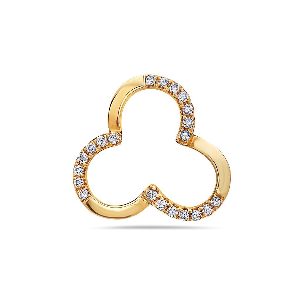 18K YELLOW GOLD CLOVER WOMEN'S PENDANT WITH 0.15 CT DIAMONDS