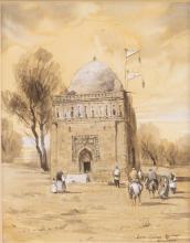 21e eeuw Oezbeekse school 2 aquarellen, het Ismael Samani mausoleum, onduidelijk gesigneerd en
