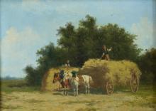 Hermanus Charles Christiaan Bogman (1861-1921) Hooitijd, marouflé, r.o. gesigneerd (B). 25