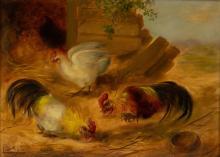 Lucien Stuyts (1879-1962) Pluimvee, olieverf op paneel, l.o. gesigneerd. (A) 26.5 x 36 cm