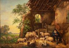 Lucien Stuyts (1879-1962) - Rustende herder in vervallen stal, maroufle,