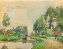 Henri Frédéric Boot (1877-1963) - Landschap met huizen aan vaart, aquare