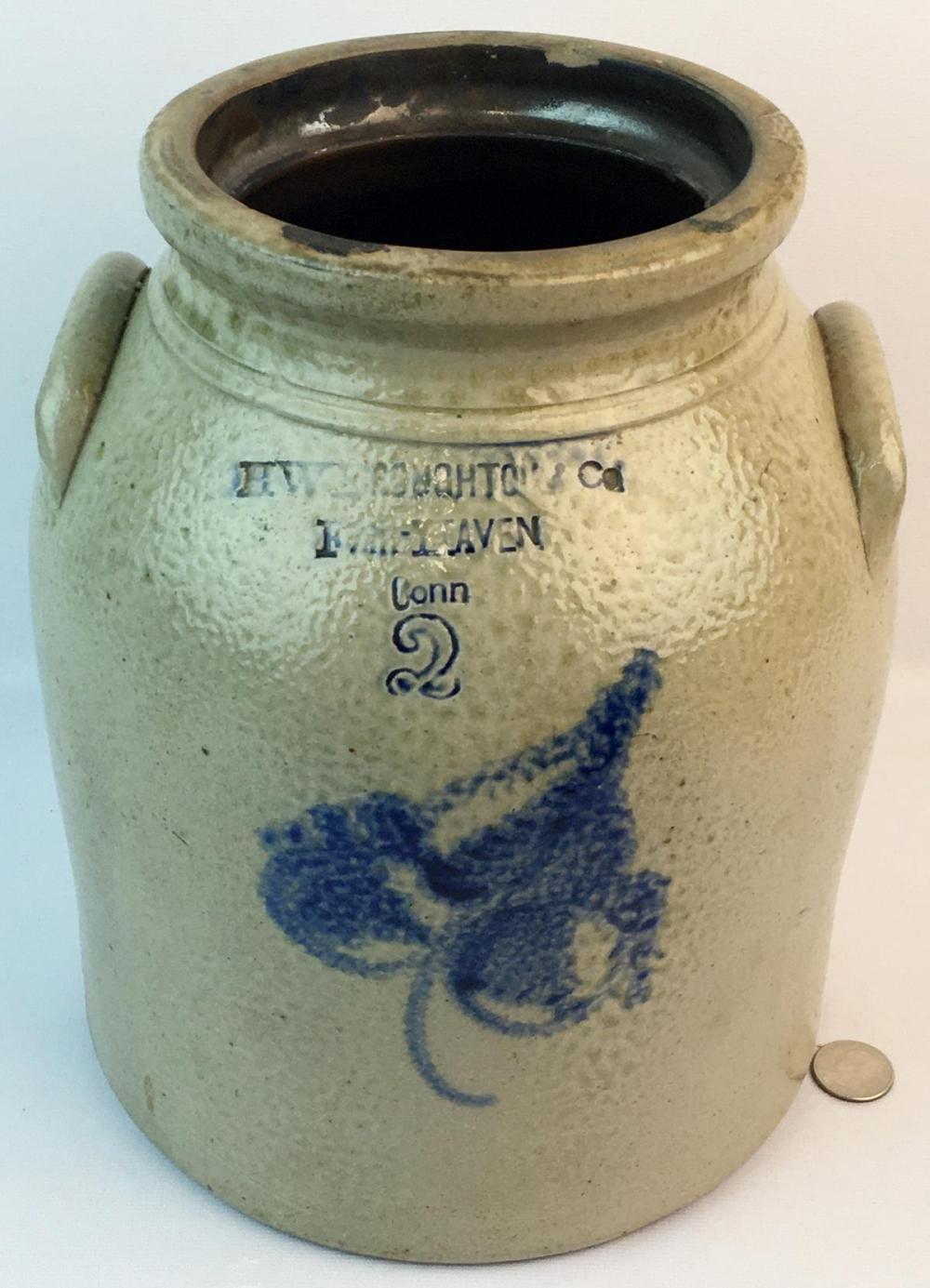 Antique c. 1870 H.W. Broughton & Co. Fair Haven, Conn. 2 Gallon Stoneware Jar w/ Cobalt Floral Decoration