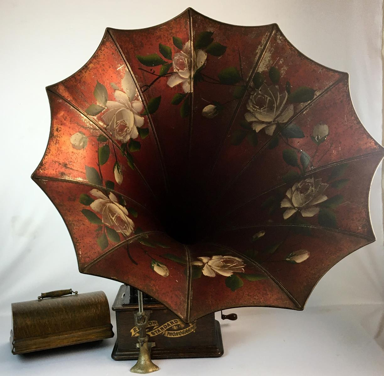 Antique 1903 Thomas Edison Standard Model H Phonograph w/ Tea Tray Co. Floral Painted Tin Horn WORKS